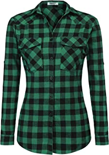 Womens Flannels Long/Roll Up Sleeve Plaid Shirts Cotton Check Gingham Top S-3XL …