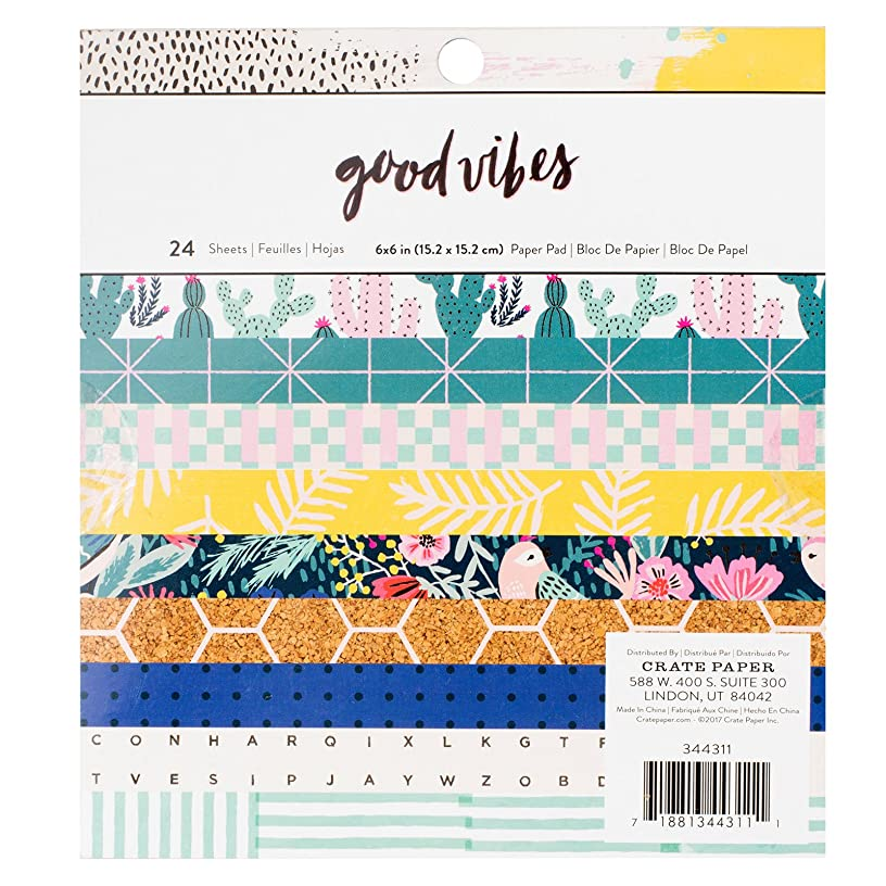 Crate Paper 24 Sheet 6 x 6 Inch Pad Good Vibes Paper