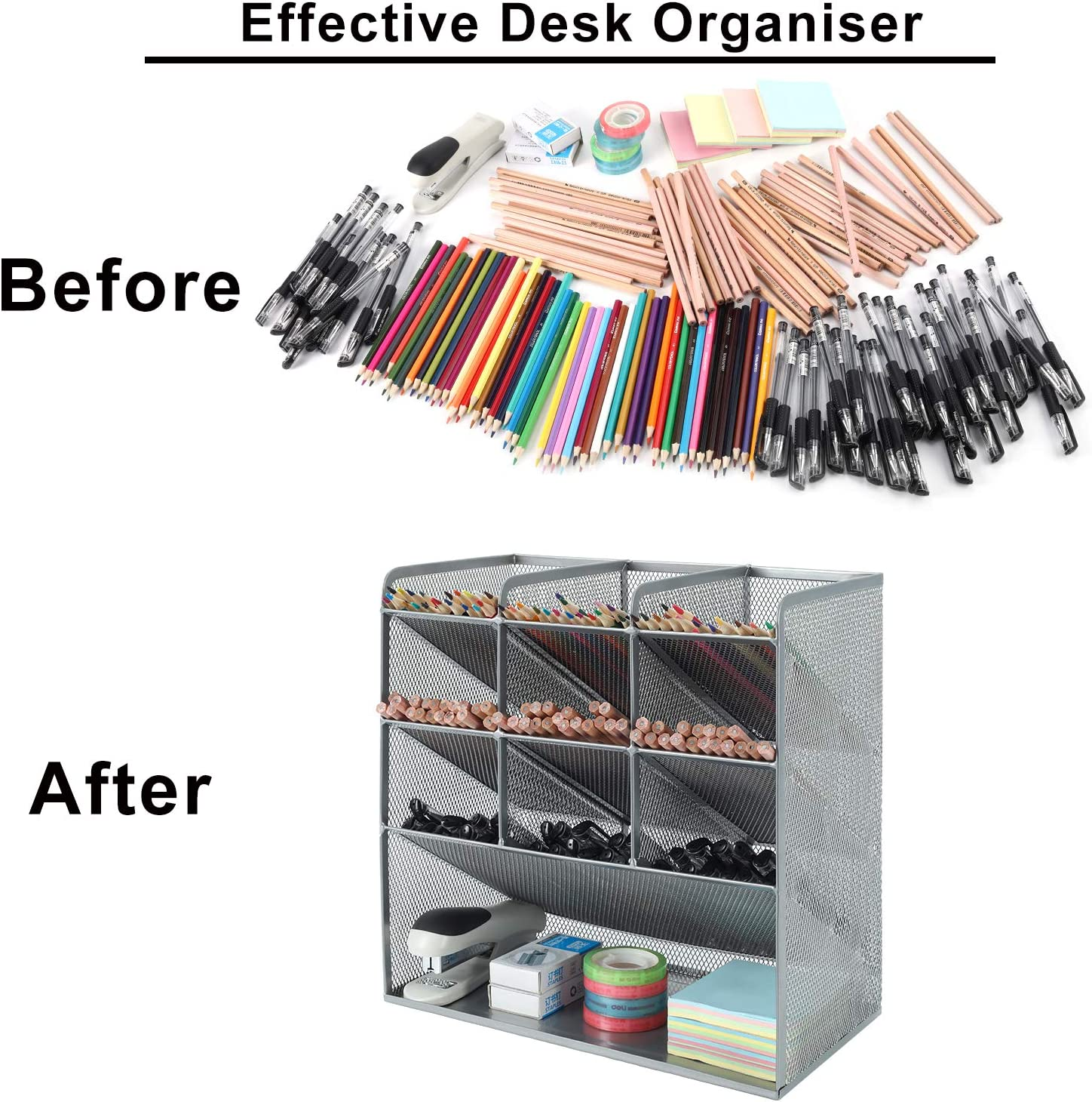 silberfarben Schreibtisch-Organizer Schreibwaren-Aufbewahrung Stifthalter vielseitig einsetzbar EasyPAG Schreibtisch-Organizer mit 4 Etagen Netzstoff