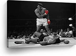 A Famous Picture - Muhammad Ali vs Sonny Liston/Red Gloves Canvas Print First Minute First Round/Knockout/Decorative Art Wall Decor Artwork- Ready to Hang -%100 Handmade in The USA - ALIH38_C