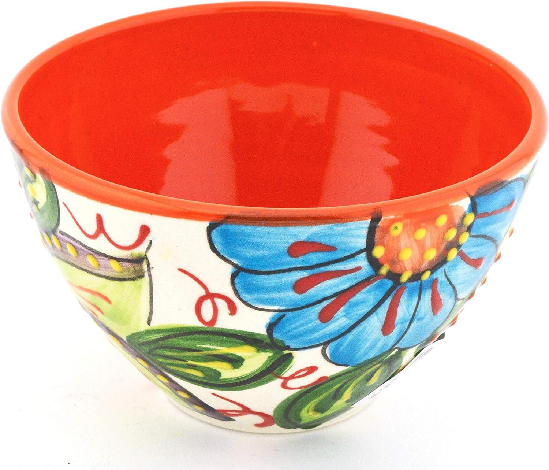 Naranja ART ESCUDELLERS Cuenco Bol en Ceramica de 3 Picos Hecho y Pintado a Mano con decoraci/ón Flor 12 cm x 12 cm x 5,5 cm