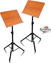 Wood Music Stand (2 Pack) by Griffin | Deluxe CONDUCTOR Sheet Holder with Metal Tripod Folding Legs | For Stage Performance, Pro Audio Recording Studio, Music Schools, DJs, Bands, Churches