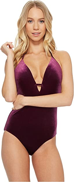 Laundry by Shelli Segal - Italian Velvet Plunge One-Piece Swimsuit