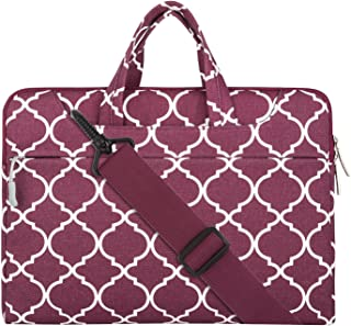 MOSISO Laptop Shoulder Bag Compatible with 15-15.6 inch MacBook Pro, Ultrabook Netbook Tablet, Canvas Geometric Pattern Protective Briefcase Carrying Handbag Sleeve Case Cover, Wine Red Quatrefoil