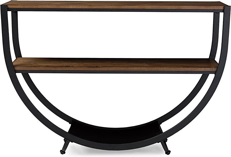 Baxton Studio Blakes Rustic Industrial Style Antique Textured Metal Distressed Wood Console Table Black