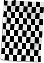 3D Rose Black and White Checkerboard Pattern Hand/Sports Towel, 15 x 22