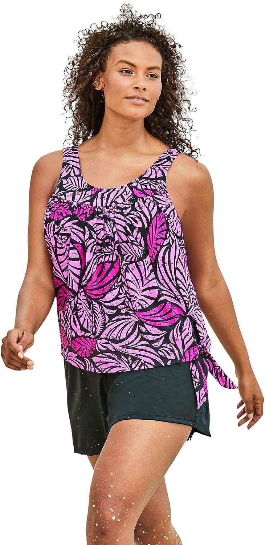 Swimsuits For All Women's Plus Size 2-Piece Blouson Swim Set