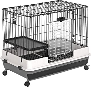 SONGMICS Small Animal Pet Cage, Ferret Chinchilla Playpen Hutch with Platform, Ramp, Leakproof Litter Tray, Double Doors, and Lockable Wheels, Black UPSC01BK