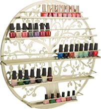 MyGift Wall-Mounted Brass-Tone Metal Tree Silhouette 5-Tier Nail Polish Rack & Essential Oil Holder