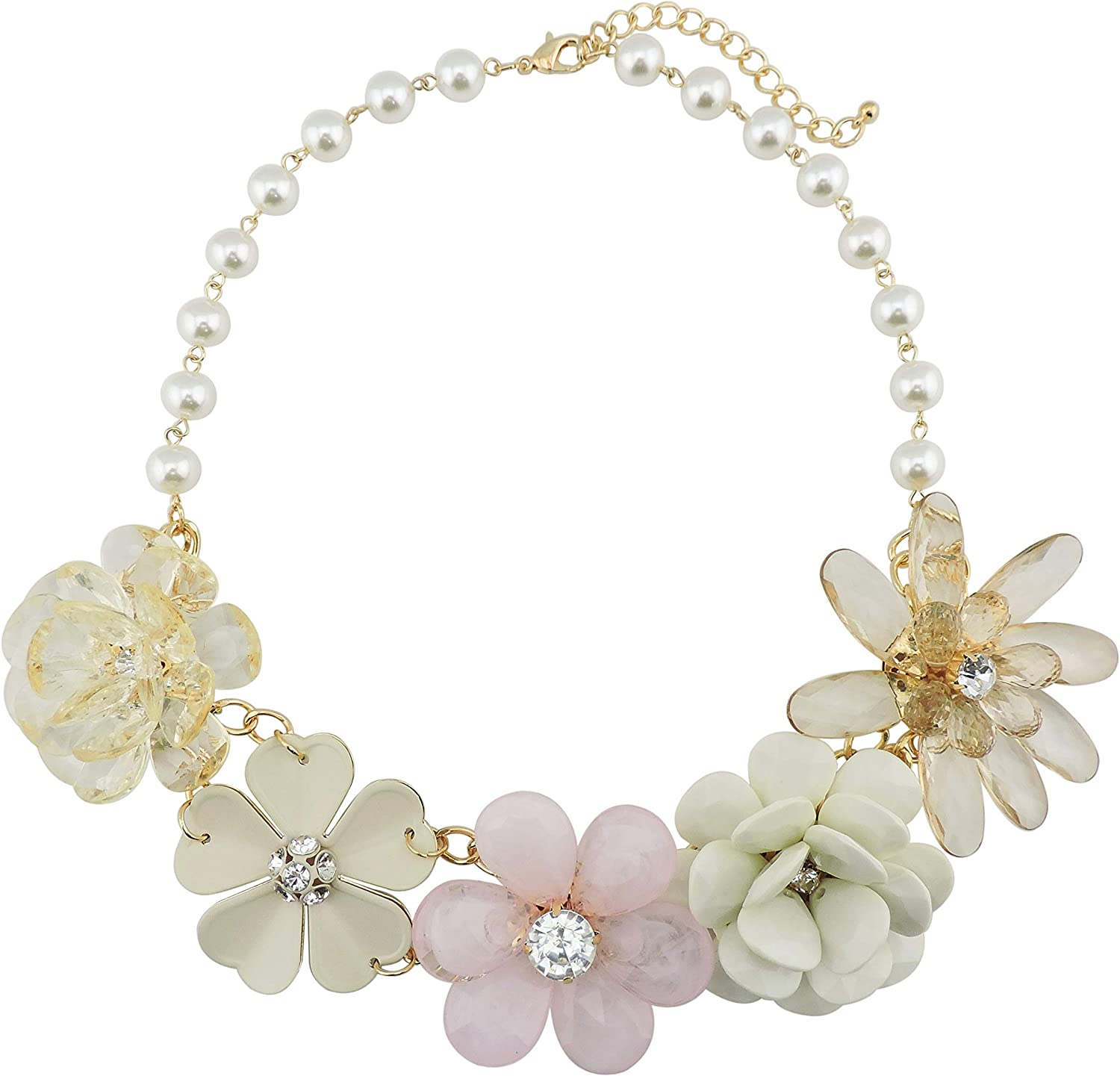 Bocar 5 Flower Braided Crystal Statement Chunky Necklace Bib Collar Pearl Jewelry for Women