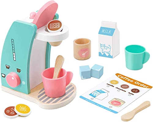 lowest Play Kitchen Accessories - Brew & Serve Wooden Coffee Maker Set, Encourages Imaginative Play, 13 Pieces, Upgraded Toy Coffee Set for Kids-Fun sale and high quality Colorful for Girls and Boys outlet online sale