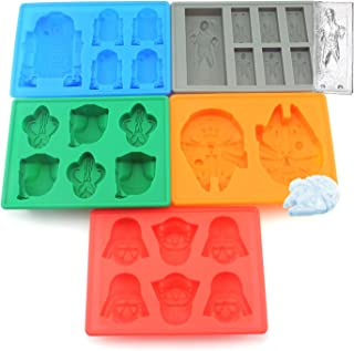 Set of 5 Star Wars Silicone Ice Trays / Chocolate Molds: Boba Fett, Han Solo, R2-D2, Millennium Falcon, Darth Vader