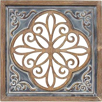 Amazon Com Stratton Home Decor Stratton Home Decor Wood And Metal Blue Square Wall Decor Home Kitchen
