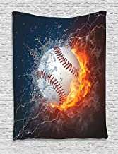 Ambesonne Sports Decor Collection, Baseball Ball on Fire and Water Flame Splashing Thunder Lightning Creative Art, Bedroom Living Room Dorm Wall Hanging Tapestry, White Blue Red Orange