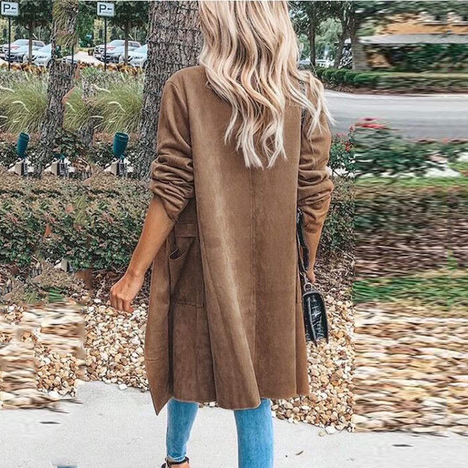 Forwelly Womens Fall Winter Lightweight Jacket Open Front Long Cardigan Classic Plain Long Sleeve Coat