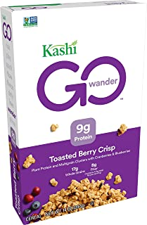Kashi GO Toasted Berry Crisp Cereal - Vegan, Non-GMO Project Verified, 14 Oz Box
