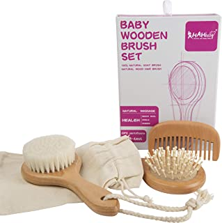 AHAHBABY- 4 Piece Baby Wooden Hairbrush and Comb Set – Perfect Baby Shower Gift - All Natural long lasting wood and Goat H...