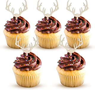 Deer Cupcake Toppers Wooden Woodland Antler Baby Shower Cake Picks Party Decorations Wedding Hunting Boho Rustic Country Birthday Party Supplies Set of 24
