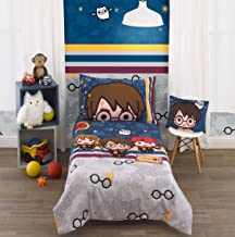 Harry Potter Wizards in Training Navy & Grey 4Piece Toddler Bed Set - Comforter, Fitted Sheet, Flat Sheet, Reversible Stan...