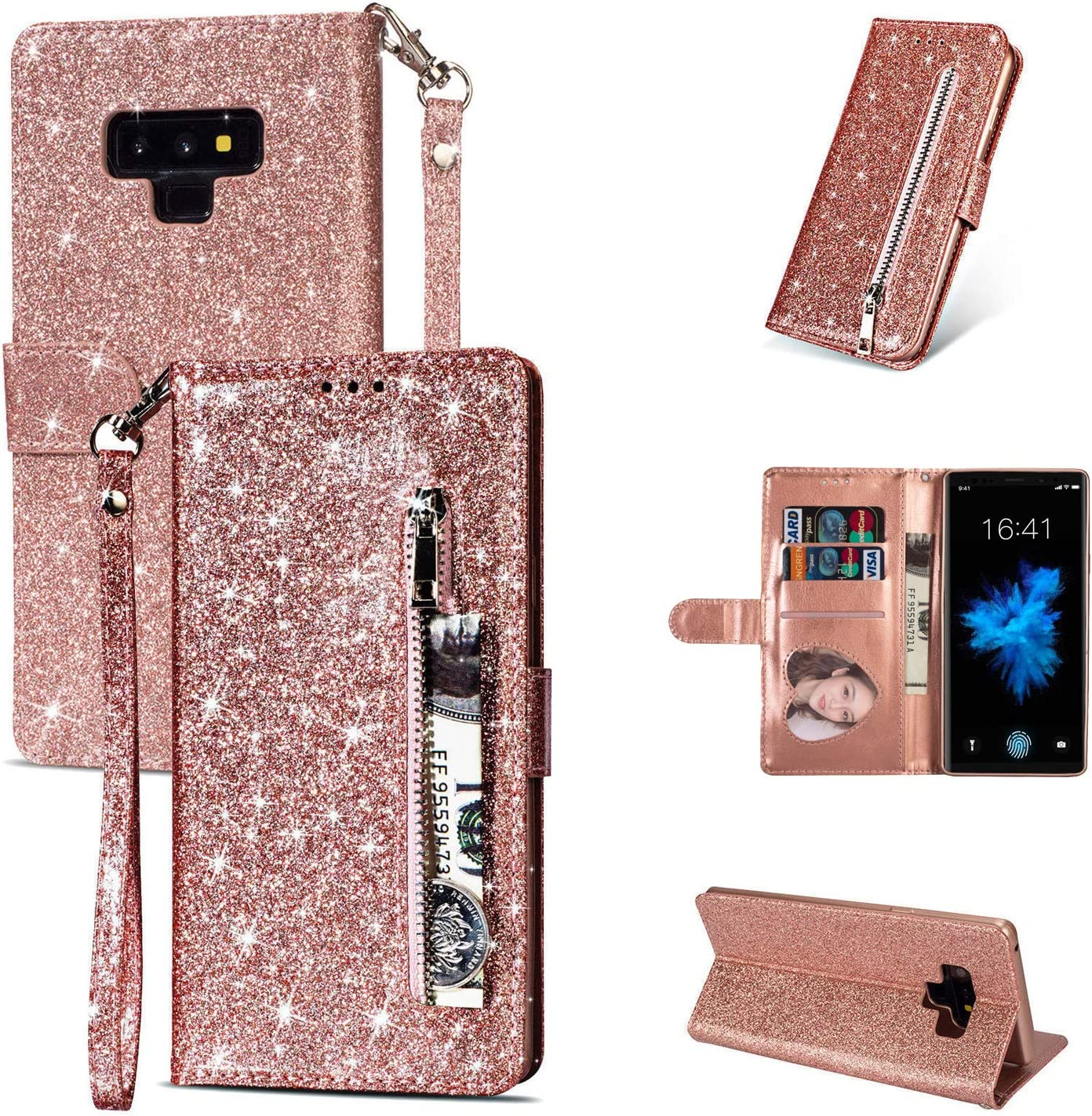 ZCDAYE Zipper Wallet Case for Samsung Galaxy Note 8,Magnetic Bling Glitter Sparkly PU Leather Folio Flip Case Cover with Card Slots Kickstand for Galaxy Note 8 - Rose Gold