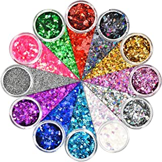 Onlyesh Body Glitter 12 Colors Holographic Chunky Glitter Face Eye Hair Nail Glitters Blue Red Silver Colorful