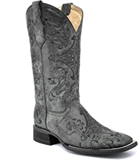 Corral Circle G Boot Women's 12-inch Distressed Leather Embroidery Square Toe Black/Grey Western Boot
