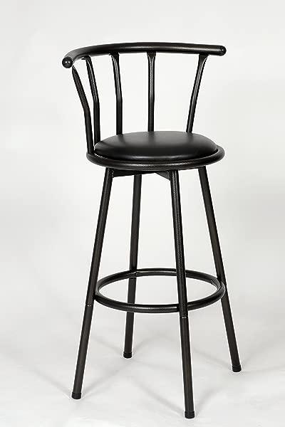Roundhill Furniture Spendy Swivel Metal Barstool Powder Coated Black
