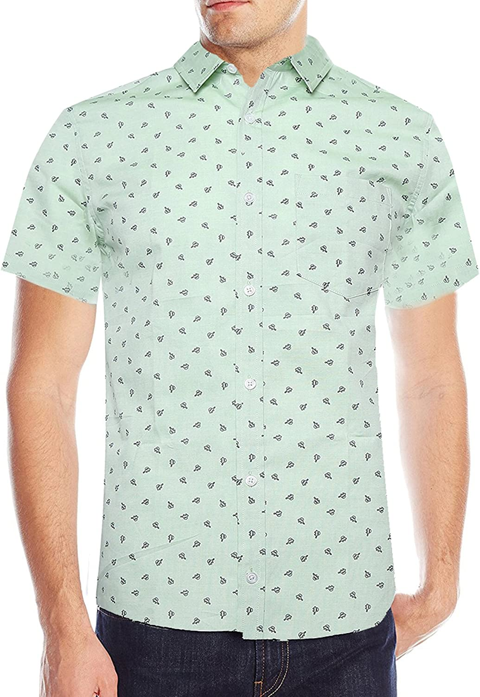 Deborri Men's Fashion Printing Casual Finally popular brand S Down Button Max 61% OFF Short Sleeve