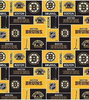 Boston Bruins Super Soft Fleece Fabric Classic Geometric Design-Sold by The Yard