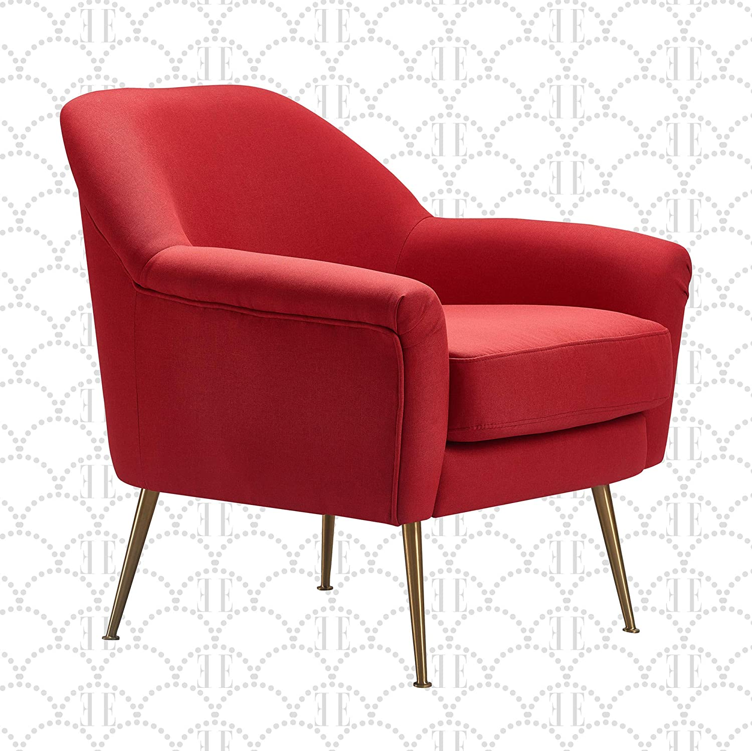 Elle Decor Ophelia Lounge, Mid-Century Modern Accent Chair with Brass Metal Legs, Fabric Upholstered Armchair for Living Room, Easy Assembly, Red
