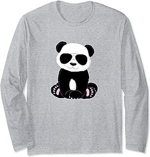 Cute Panda Teddy Bear Nerd Gift Boy Girl Aviator Sunglasses Long Sleeve T-Shirt