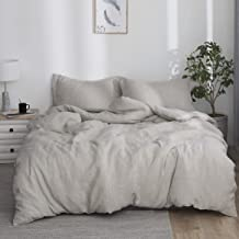 Simple&Opulence 100% Washed Linen Duvet Cover Set 3pcs Basic Style Natural French Flax Solid Color Bedding with Button Clo...