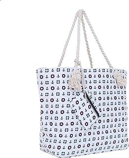 Große Strandtasche mit Reißverschluss 58 x 38 x 18 cm Strand-Maritim Design weiß Shopper Schultertasche