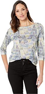 Jeans Women's Printed Smooth Jersey Dotted Triangle Print Boat Neck Top