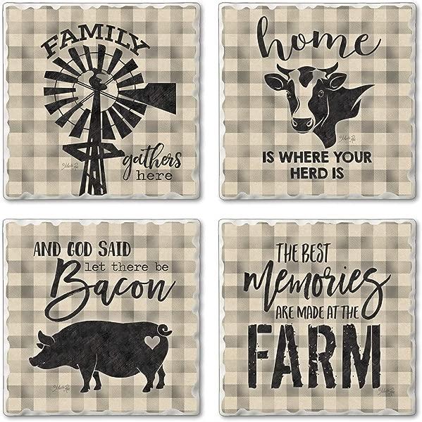 Highland Home Assorted Tumbled Tile Coaster Set Plaid Farm