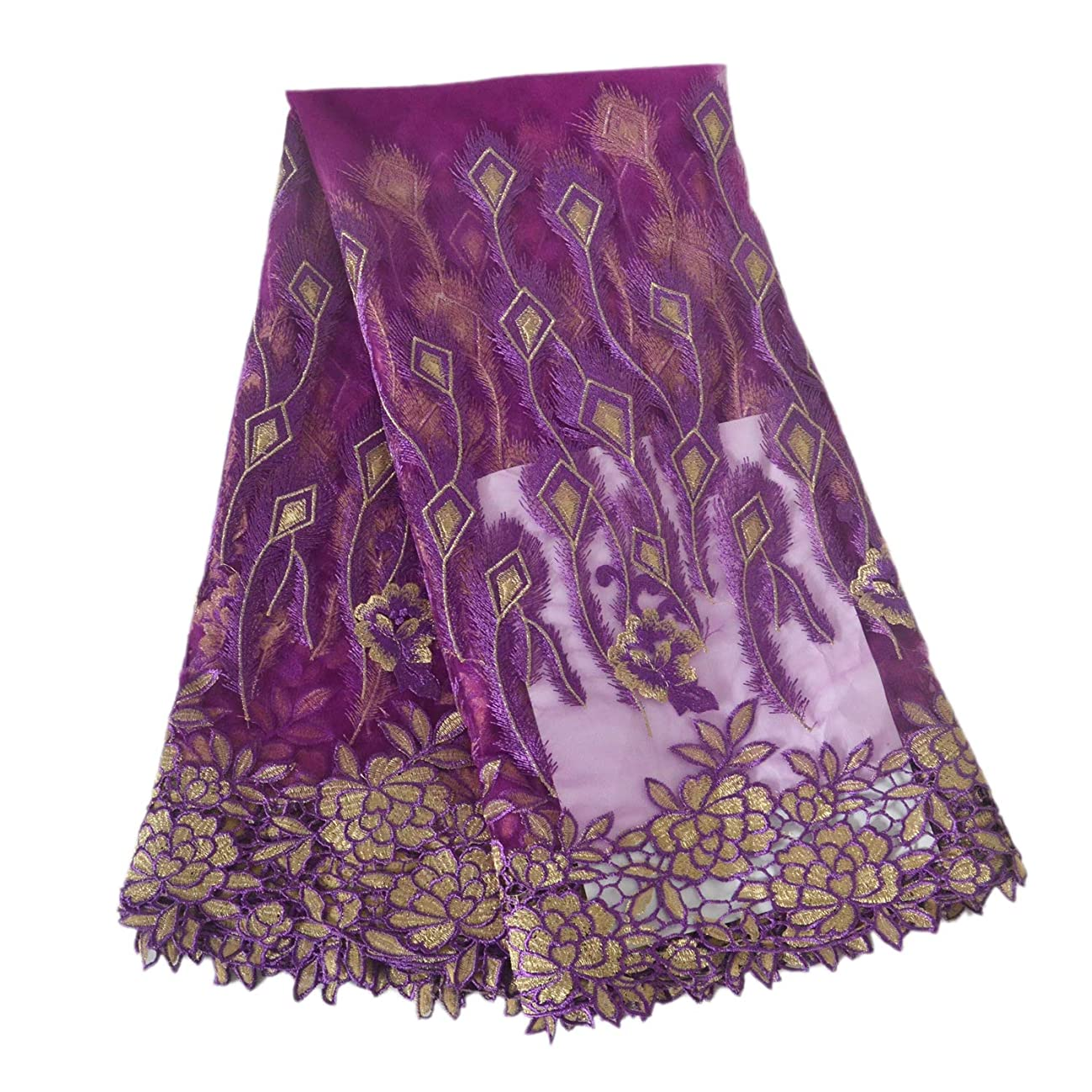 Aisunne African Lace Fabrics 5 Yards Nigerian French Lace Fabric with Fashion Embroidered Flower for Wedding Party Dresses (Purple)