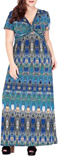 QZUnique Women's Plus Size Short Sleevess V Neck Long Dress Printed Beach Sundress
