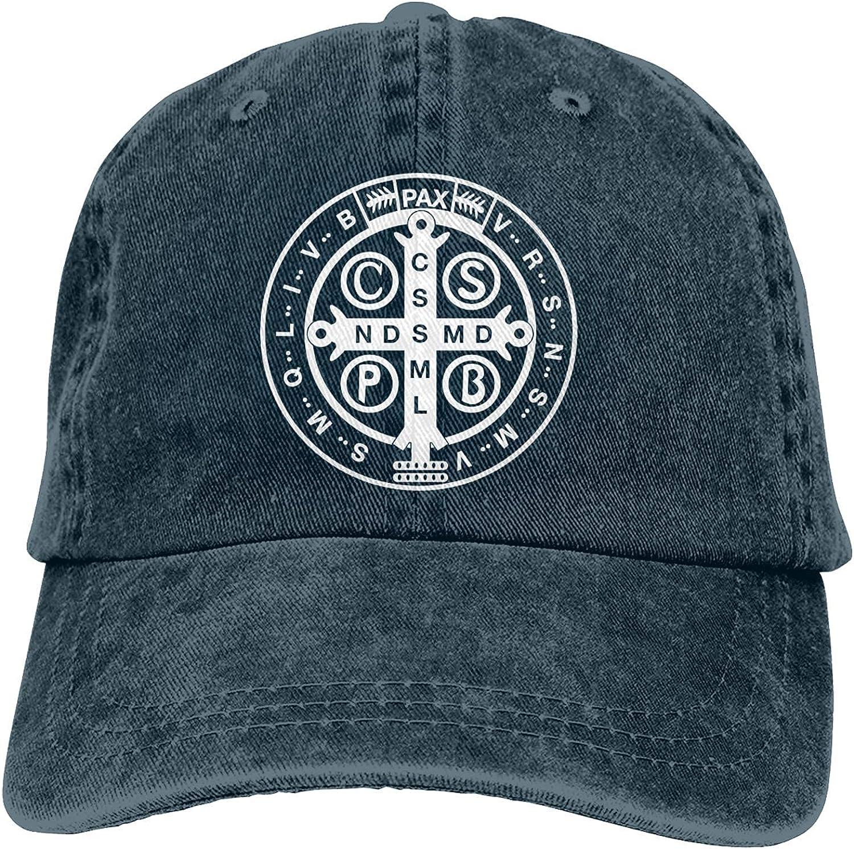 St Benedict Medal Holy Cross Unisex Adult Adjustable Cowboy Hats Denim Baseball Cap for Men Women Black