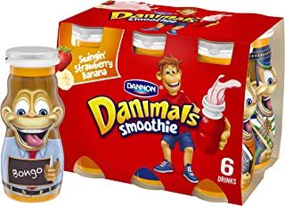 Dannon Danimals Smoothie Lowfat Dairy Drink, Swingin' Strawberry Banana, 3.1 Ounce Drinks (Pack of 6)