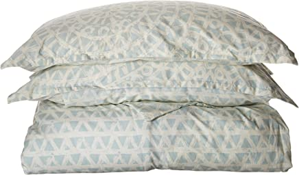 Echo Design Mykonos Duvet Cover King Size - Seafoam Blue ,  Geometric Duvet Cover Set – 3 Piece – 100% Cotton Light Weight Bed Comforter Covers