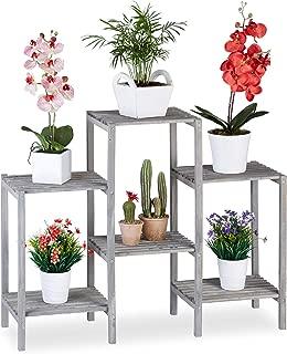 Relaxdays Soporte Plantas Original Natural Madera 70 x 89 x 27 cm