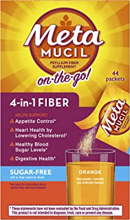Metamucil Fiber, 4-in-1 Psyllium Fiber Supplement, Sugar-Free Powder Single-Serve Packets, Orange Flavored Drink, 44 Packets (Packaging May Vary)