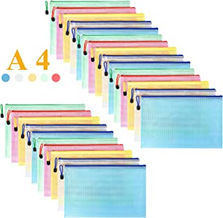 Mesh Zipper Pouch Waterproof Double Plastic Document Organizer Bag Zip File Folders A4 Size for Office School Supplies,Bus...