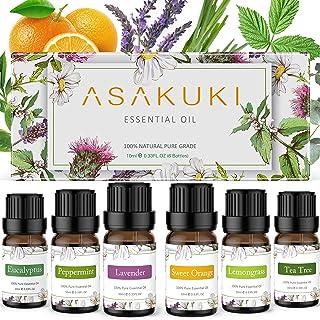 ASAKUKI Kit Huile Essentielle Aromathérapie 6x10ml, 100% Pure Avec Lavande, Menthe Poivrée, Citronnelle, Arbre à Thé, Euca...