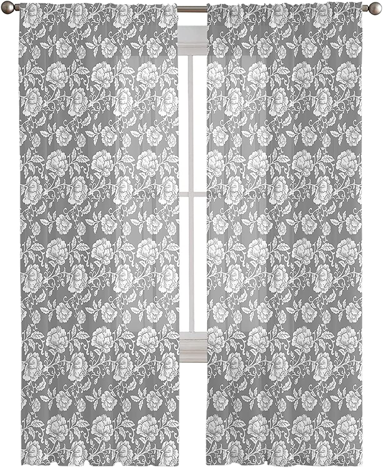 Sheer Curtains Over item handling 72 Inches Long 2 Elegant Peony Flower Special price Panels Se
