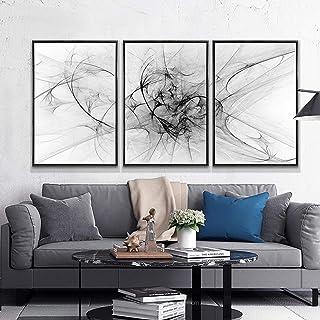 Pinturas de lienzo de línea abstracta nórdica carteles en blanco y negro impresiones de arte de pared imágenes sala de est...
