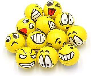 FIVOENDAR 2.5 inch Yellow Kids Adults Favor at School Fun Face Stress Balls Cute Hand Wrist Stress Reliefs Squeeze Balls - School Office Holiday Gift Party Favors (12 Pack)