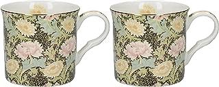 Creative Tops 2-piece V&a William Morris Chrysanthemum Bone China Mugs, Green