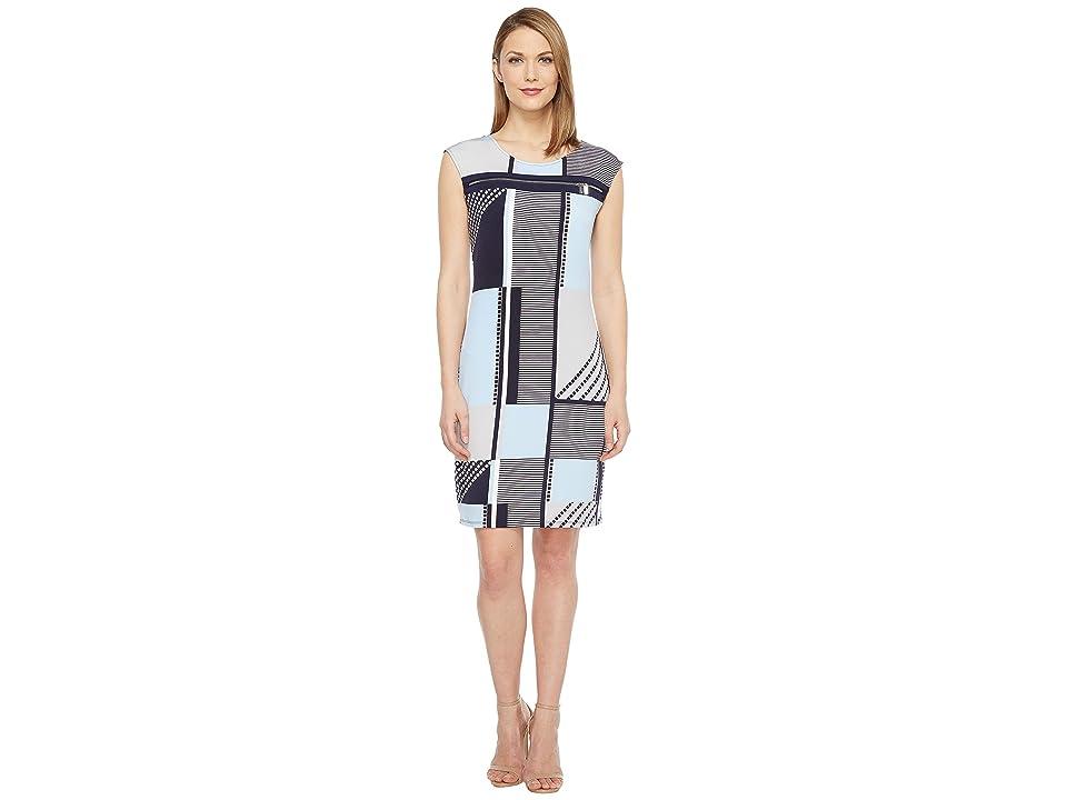 Calvin Klein All Over Print Zipper Dress (Twilight Multi) Women