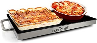 Portable Electric Food Hot Plate - Stainless Steel Warming Tray Dish Warmer w/Black Glass Top - Keep Food Warm for Buffet Serving, Restaurant, Parties, Table or Countertop Use - NutriChef PKWTR15